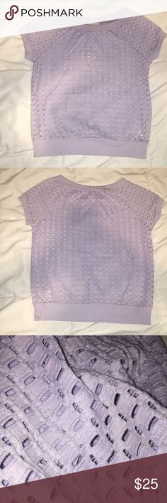 Weston by Anthropologie Lavender Blouse Worn <5 times and is in very good condition. Fits a little large for an XS (feels more like size S). Pretty light but I'd recommend layering with a camisole due to its many holes/slits as shown in photo #3. Anthropologie Tops Blouses