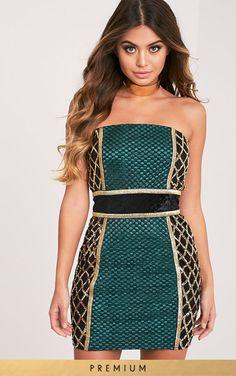 e2d103206a5a EZMAI EMERALD GREEN PREMIUM SEQUIN PANEL BODYCON DRESS Fashion Company