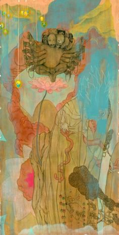 """Lotus 2. Charcoal, Acrylic, & Pastel on Paper, 84 x 42"""", 2002 by James Jean"""