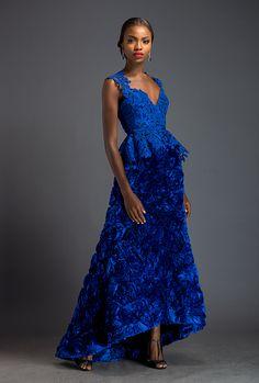 Anastasia - Ultramarine blouson and floor length 'Roses' skirt. Blouson is patterned with Komole Kandids Azalea motif.