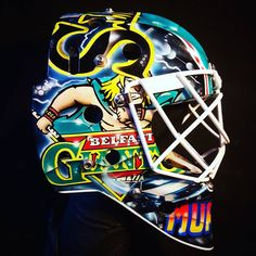 Belfast Giants goaltender Stephen Murphy may spend more time facing pucks travelling at 88 MPH than cars but that hasnt stopped the British Elite League goaltender from honouring one of cinemas most iconic vehicles on his latest mask design. Goalie Gear, Goalie Mask, Belfast Giants, Back To The Future, Ice Hockey, Mask Design, Football Helmets, Celtic, Travelling