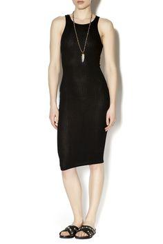 Black sleeveless ribbed knit dress