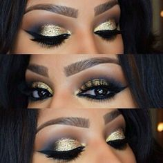 Dramatic Gold Glitter Smokey Eye Makeup - Winged Eyeliner - Lashes