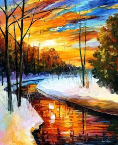 "Winter Sunset — PALETTE KNIFE Landscape Contemporary Wall Art Oil Painting On Canvas By Leonid Afremov - Size: 30"" x 36"" (75 cm x 90 cm)"