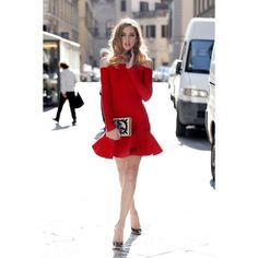 A red dress and a book ❤ liked on Polyvore