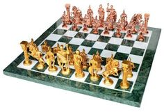 15 x 15 Collectible Green Marble Chess Board Game Set  Brass Roman Pieces *** Be sure to check out this awesome product.