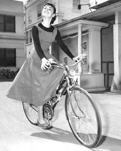 Audrey on bicycle...