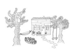 Drawing, illustration, gardenhouse, house, tegning