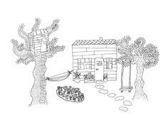 Drawing, illustration, gardenhouse, house, tegning