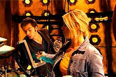 One of my favorite moments ever. She's quite confused having just heard the Doctor quite casually mention having kids before (and maybe a bit upset - after all this time she still knows so little about him) and then he just keeps rambling, not noticing her reaction, but when he takes her hand she can't help but smile (gif)