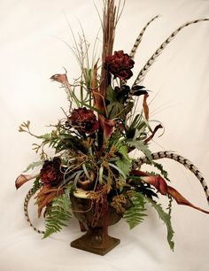 Ana Faux Floral Arrangements With Maroon Flowers For Home Decoration Ideas