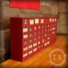 Vintage Industrial Antique Red Pharmacy by IndustrialArtifact