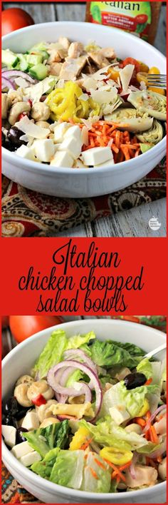 [ad] Italian Chicken Chopped Salad Bowls | by Renee's Kitchen Adventures - Quick and easy dinner solution recipe for a healthy meal with chicken, veggies and pasta #SimpleSatisfyingSalads #EverydayEffortless