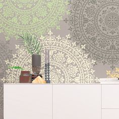 Just look at this gorgeous LORAINE- Mandala Wall Stencil! We made this Mandala Stencil as allover wall stencil with calibration locks for easiest installation! Large Wall Stencil, Stencil Painting On Walls, Large Stencils, Custom Stencils, Stencil Designs, Stenciling, Tole Painting, Unique Home Decor, Diy Home Decor