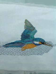 My embroidered Kingfisher with Blackwork background