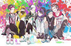 Osomatsu,Karamatsu,Choromatsu, Ichimatsu,Jyushimatsu y Todomatsu-Color gang Kawaii Anime, Osomatsu San Doujinshi, Dark Anime Guys, Ichimatsu, Pin Art, Cute Anime Boy, Anime Characters, Chibi, Boy Or Girl
