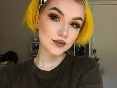 Love her thin hoops 💜 Hair Inspo, Hair Inspiration, Good Dye Young, Yellow Hair Color, Alternative Hair, Aesthetic Hair, Permanent Hair Color, Beautiful Redhead, Rainbow Hair