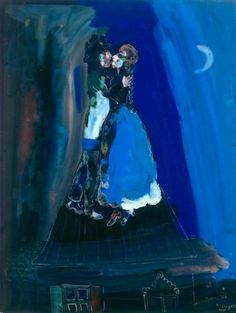 Les Amants Sur Le Toit = Lovers On The Roof (Gli amanti di un giorno) - Marc Chagall (Russian-French, Marc Chagall, Artist Chagall, Chagall Paintings, Atelier D Art, Jewish Art, Naive Art, Henri Matisse, French Artists, Art Plastique