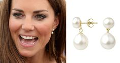 A B Davis 9ct Gold Freshwater Pearl Drop earrings. Worn by the Duchess of Cambridge Apr. 26, 2012 while visiting the Royal British Legion.