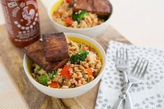 Peanutty Quinoa Bowls With Baked Tofu and other meals with lots of protein and no meat