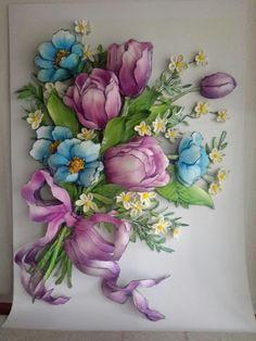 Mürşide's papertole-Sümbül Eldek Paper Mache Projects, 3d Paper Crafts, Clay Flowers, Paper Flowers, Decoupage, Plaster Art, Calla, Hand Painted Plates, Ribbon Art