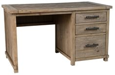 Classic Home Caleb Desk. $899. With two pencil drawers above a file drawer, this desk would be useful in any office. Its lovely reclaimed pine insures its durability for years, and its clean lines and soft Desert color will allow it to fit well into any decor.