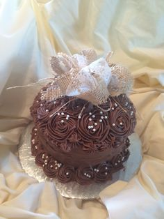 Lace burlap chocolate cake by Inphinity Designs
