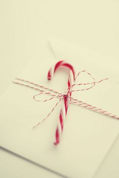 Candy cane with simple gift wrap