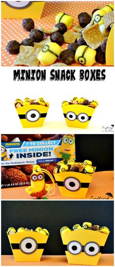 Must Pin--Minion Mix Snack | Crafting in the Rain  Fun Minions Snack for kids complete with box instructions! Perfect for the Minion Movie, a Minion party, or just for fun.   #The7thMinion #Minions #ad