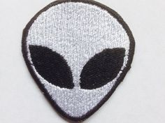Tiny Alien Patch, Embroidered Alien, Iron on Alien or Sew on Alien This listing is for 1 Alien iron on patch measuiring approx. 2 inches x 2