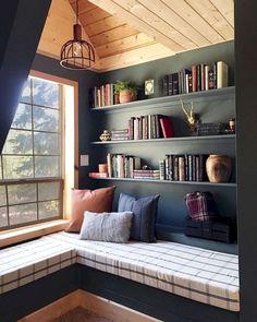 36 Trendy Home Library Window Seat Interior Design Home Library Rooms, Home Library Design, Home Libraries, Home Interior Design, House Design, Library Ideas, Garden Design, Garden Art, Interior Ideas