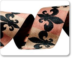 Black and Copper Fleur De Lis Ribbon