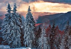 Light & darkness - Snow storm in the mountains and warm, autumn weather further down