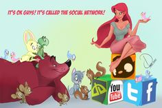 Cherry Pinup with her furry and feathered freinds exploring the social network.  By Paris Christou from ToonBoxStudio.com