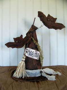 """Grungy Primitive Halloween """"Hocus Pocus"""" Witches' Hat with Broom and Bats"""