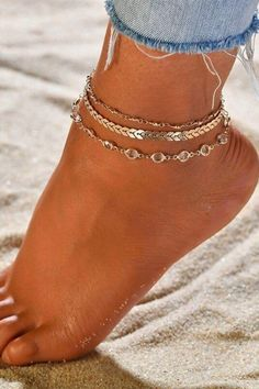 """Get ready for summer weather with this cute anklet set! You get three different anklets already matched so you can wear them all or mix and match just a couple.   The top anklet features gold beads on a delicate chain. The second anklet is a super trendy chevron chain. The third anklet features clear crystal beads for extra sparkle! DETAILS & SIZE  Composition: gold or silver plated zinc alloy, clear faceted glass beads Measurements: chain: 7.5"""" + 2"""" extension Cute Anklets, Beach Anklets, Silver Anklets, Gold Anklet, Body Chain Jewelry, Anklet Jewelry, Jewellery, Women Jewelry, Unique Jewelry"""