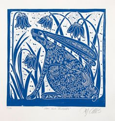 linocut/Tree of Life/blue/original by linocutheaven on Etsy