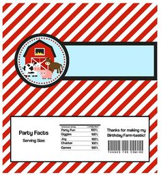 Farm Candy Wrapper - Red Striped Farm Animals and Barn Personalized Birthday Party Favor Candy Bar Wraps - A Digital Printable File Candy Party Favors, Birthday Party Favors, Birthday Ideas, Choclate Bar, Farm Animal Cakes, Farm Animals, Hershey Candy Bars, Best Candy, Farm Party