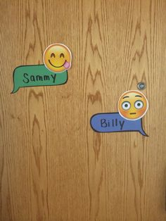Emoji door decs -- RA ideas Door Name Tags, Ra Door Tags, Ra College, College Students, Dorm Door Decorations, Ra Themes, Emoji Craft, Door Decks, Resident Assistant