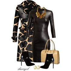"""Burberry Coat And Black Leather Dress Contest"" by sherryvl on Polyvore"