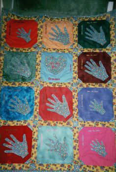 This quilt was made for Daves Moms birthday ...It has all our hands appliqued,with our names, and birthdates