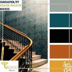 """""""Gatsby Teal & Gold"""" Sweater/French Terry Knit Palette Bundle – Boho Fabrics"""