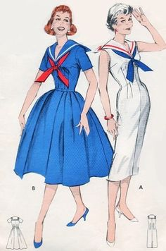 Welcome to So Vintage Patterns - Perky NAUTICAL Sailor Collar Middy Dress Pattern Full or Slim Skirt Butterick 8595 Vintage Sewing Pattern Bust 32 Source by ingridhirschfel - Moda Vintage, Vintage Mode, 1950s Style, Vintage Outfits, Vintage Dresses, Lovely Dresses, Middy Dress, Retro Fashion, Vintage Fashion