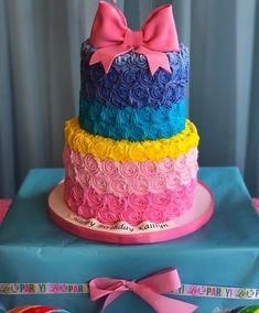 Angel Mia's bday Colorful Birthday Party, 6th Birthday Parties, 8th Birthday, Birthday Ideas, Mermaid Birthday, Unicorn Birthday, Jojo Siwa Bows, Jojo Bows, Jojo Siwa Birthday Cake