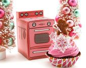 "Gingerbread Man Fake Cupcake and Hot Pink Retro Oven Box Gift Set ""Sweet Oven Lovin' Collection"" SnowFlake Love Fab Holiday Gift/ Photo Prop"