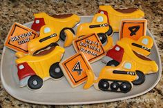 Construction Sugar Cookies - Dump Truck - Bulldozer -  Caution Signs -   - 12 Rolled Sugar Cookies by MyBloomingBakery on Etsy https://www.etsy.com/listing/190568827/construction-sugar-cookies-dump-truck