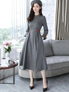 Round neck Maxi length waist draw Temperament clothed dating dress One piece 12944029 - Date dresses - Doresuwe.Com