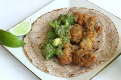 Fried Oyster Tacos with Tomatillo-Avocado Salsa + Chipotle-Lime Crema (peanut oil, for frying, 1 c buttermilk, 1 T Tabasco, 2 dozen oysters, 1/2 c AP flour, 1/4 cup masa harina, 1/4 c yellow cornmeal, 1 T adobo seasoning, salt & pepper, corn tortillas/ Salsa: 2 lb tomatillos, 4 garlic cloves, 2 serrano chile peppers, 1/2 red onion, 1/2 c (loosely packed) cilantro leaves, 2 avocados/ Crema: 1 c sour cream OR 1/2 c fat-free Greek yogurt, juice of 1/2 lime, 1 to 2 chipotle peppers in adobo)