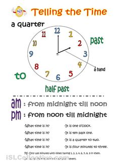 Telling the time (basic knowledge) worksheet - iSLCollective.com