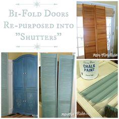 "Bi Fold Doors Re-purposed to ""Shutters"" {Annie Sloan Chalk Paint}"